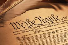 Picture of the Constitution, with the words