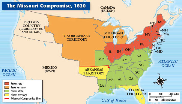 Picture of map of the United States in 1820 depicting the free and slave states and showing the effects of the Missouri Compromise of 1820.